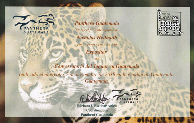 jaguar-lecture-Nov-7-2018-conference-Panthera-Guatemala-certificate-Nicholas-Hellmuth